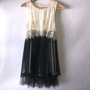 San Joy Womens Sleeveless Dress Pleated Sheer Sz L